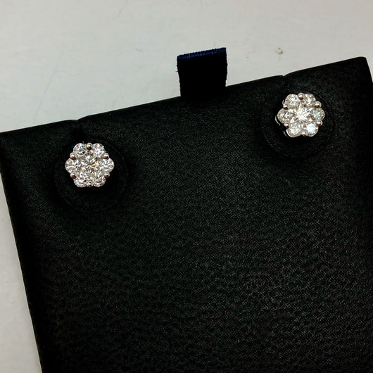 14K White Gold 0.87 TCW F-G VS 14 Natural Round DIAMONDS Studs Earrings 1.3g Weight