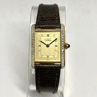 Must de CARTIER TANK Quartz Gold-Plated Silver Ladies Watch 0.46TCW Diamond Bezel