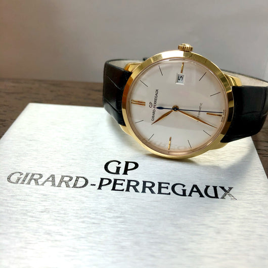 GIRARD-PERREGAUX Automatic 38mm 18K Yellow Gold Men's Watch Skeleton Back Case. Retail $15,000