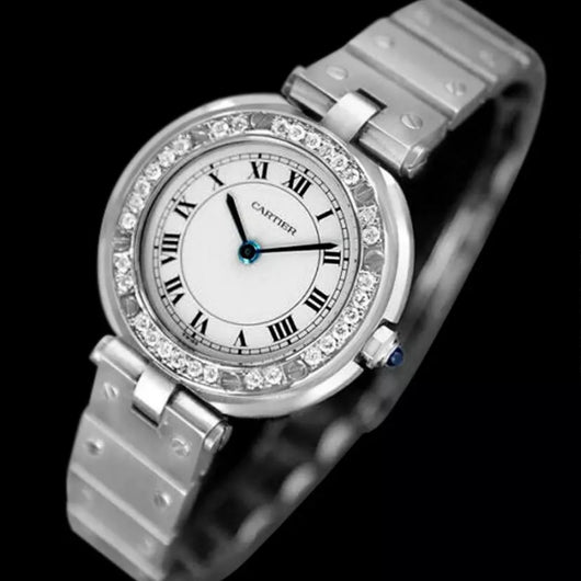 CARTIER SANTOS RONDE 32mm Quartz Steel ~0.38TCW DIAMOND Bezel Ladies Watch