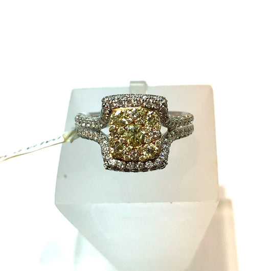 New 18K White Natural Fancy Yellow DIAMONDS Ladies Ring 1.42 TCW 6.40g