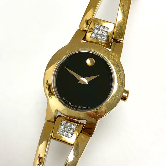 MOVADO AMOROSA 18K Gold-Plated Ladies Bracelet Watch 18 FACTORY DIAMONDS