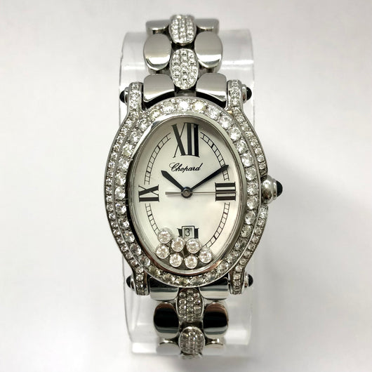 CHOPARD HAPPY SPORT Quartz Steel Ladies 7 Floating DIAMONDS 3TCW+ DIAMOND Bezel & Bracelet