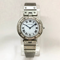 CARTIER SANTOS RONDE 32mm Quartz Steel 0.6TCW DIAMOND Bezel Ladies Watch