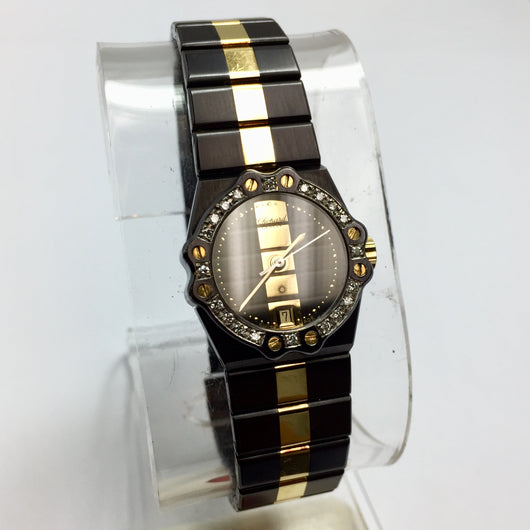 CHOPARD ST. MORITZ 18K Yellow Gold & Chrome Steel Ladies Watch w/ DIAMONDS
