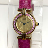 CARTIER VERMEIL COLISÈE Quartz GP Ladies Watch 0.55TCW Pink SAPPHIRES Pink Band