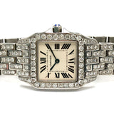 CARTIER SANTOS DEMOISELLE 2698 Quartz Steel Ladies Watch ~6TCW, F-G, VS DIAMONDS