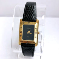 GUCCI Quartz Yellow Gold Electroplated Ladies Watch New Black GUCCI Band Swiss