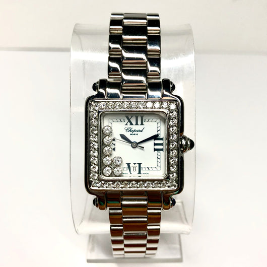 CHOPARD HAPPY 2000 LMT EDITION Steel Ladies Watch 7 Floating DIAMONDS & VS Diamond Bezel