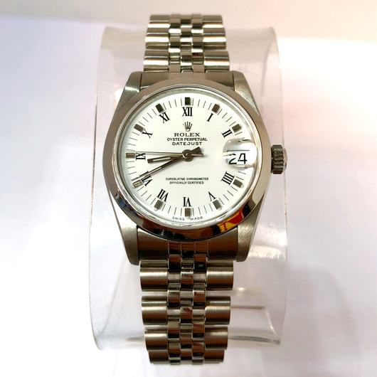 ROLEX OYSTER PERPETUAL DATEJUST 31mm Steel Ladies Watch White Dial Roman Numerals