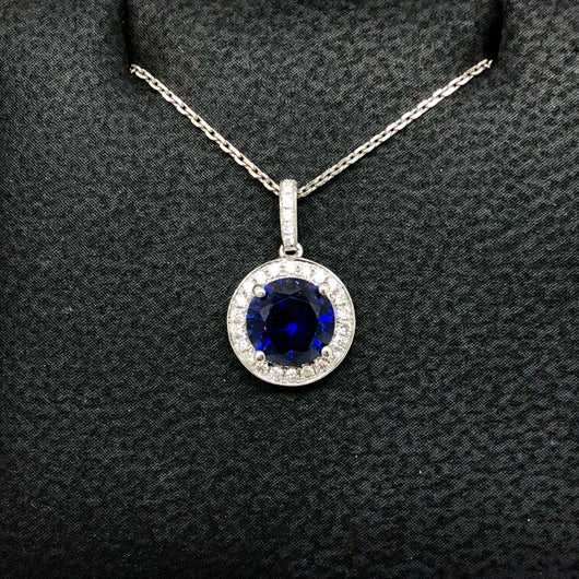 18K White Gold 1.73ct Blue SAPPHIRE & 0.16 TCW of 27 Natural DIAMONDS Pendant with Chain 1.8g Weight