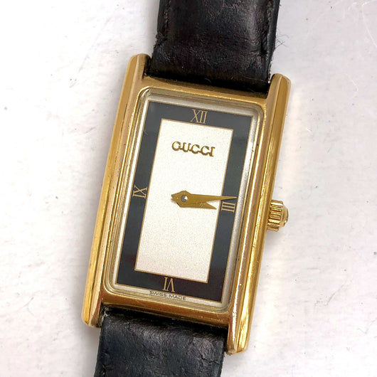 GUCCI Quartz Yellow Gold Electroplated Ladies Watch Black GUCCI Band Swiss Made