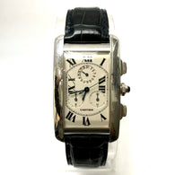 CARTIER TANK AMERICAINE Chronograph 18K White Gold Men's Watch