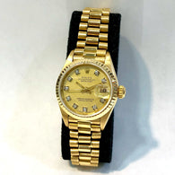 ROLEX OYSTER PERPETUAL DATEJUST 26mm 18K Yellow Gold Ladies Watch DIAMOND Dial
