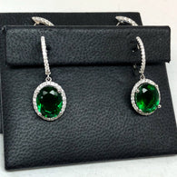 18K White Gold 6.82TCW Oval Green EMERALD and 0.48 TCW F-G VS of 78 Natural Round DIAMONDS Earrings 5.7g Weight