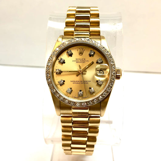 ROLEX OYSTER PERPETUAL DATEJUST 18K Yellow Gold Ladies Watch Diamond Bezel and Dial