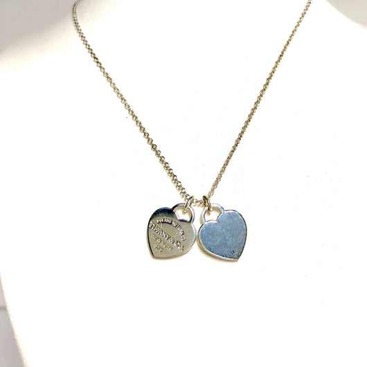 RETURN TO TIFFANY & CO New York 925 Sterling Silver Heart Shape Pendant Necklace