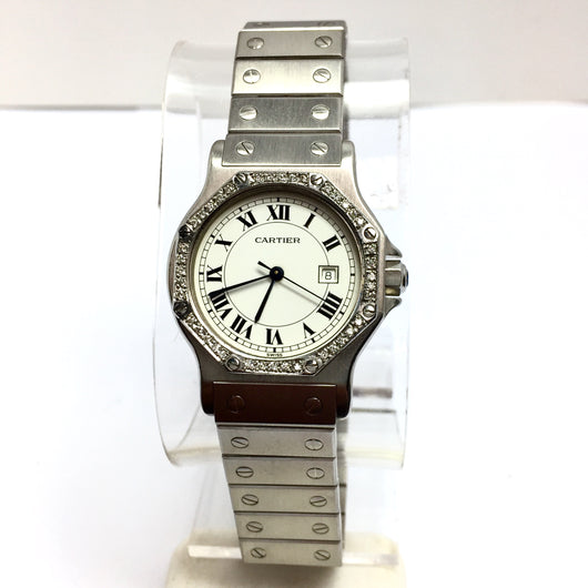 CARTIER SANTOS OCTAGON Date Automatic Steel Ladies Watch w/ DIAMONDS