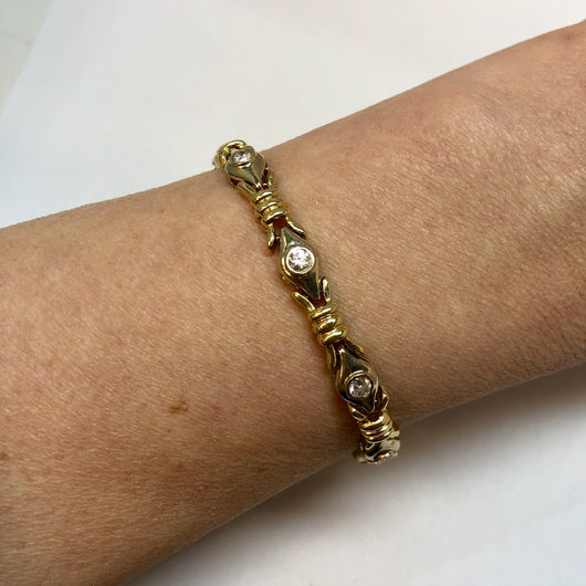 14K Solid Yellow Gold 1.50  F-G VS Natural DIAMONDS Ladies Bracelet 15g Weight