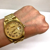 ROLEX OYSTER PERPETUAL DAY-DATE 18K Yellow Gold Men's/Unisex Watch DIAMOND Dial