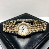 CHOPARD GSTAAD 18K Gold & Steel Ladies Watch 1.49TCW DIAMONDS ~1.5TCW Pink SAPPHIRES