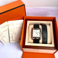 "HERMÈS CAPE COD PM Steel Men's/Unisex Watch 16"" Double Tour Band"