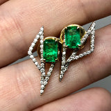 KAVANT & SHARART 18K Yellow Gold Designer Earrings w/ Genuine Emeralds and Diamonds 4.92g