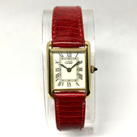 Must de CARTIER TANK Hand-Winding Gold-Plated Silver Ladies Watch Red CARTIER Band
