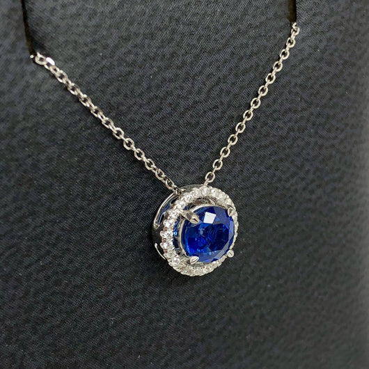 18K White Gold 1.1TCW Blue SAPPHIRE & 0.1TCW of 24 Natural DIAMONDS Pendant with Chain 1.2g