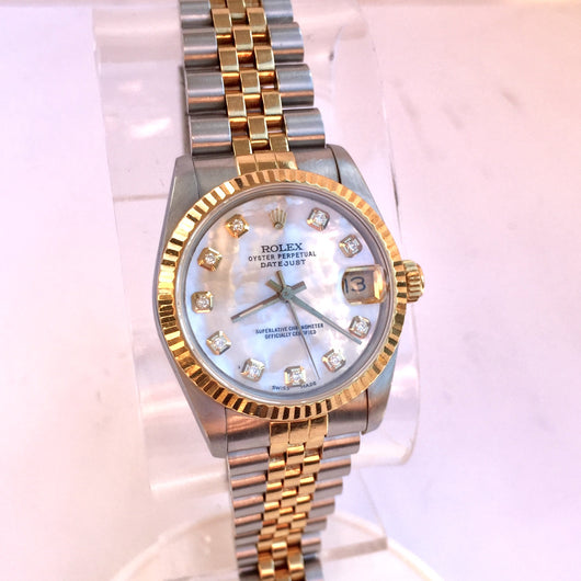 ROLEX Oyster Perpetual Datejust 18K Gold and Stainless Steel Luxury Ladies Watch