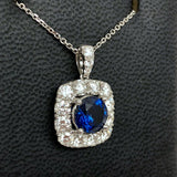 18K White Gold 2.55ct Blue SAPPHIRE & 1.76 TCW F-G VS of 15 Natural DIAMONDS Pendant with Chain 5.10g Weight