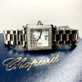 CHOPARD HAPPY SPORT Steel Ladies Watch 7 Floating DIAMONDS & Diamond Bezel