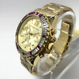 MICHAEL KORS Chronograph Quartz Gold Tone Steel Ladies Watch w/ Pink & White Crystals