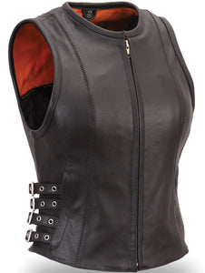 Woman's Buckled Zip Front Leather Vest