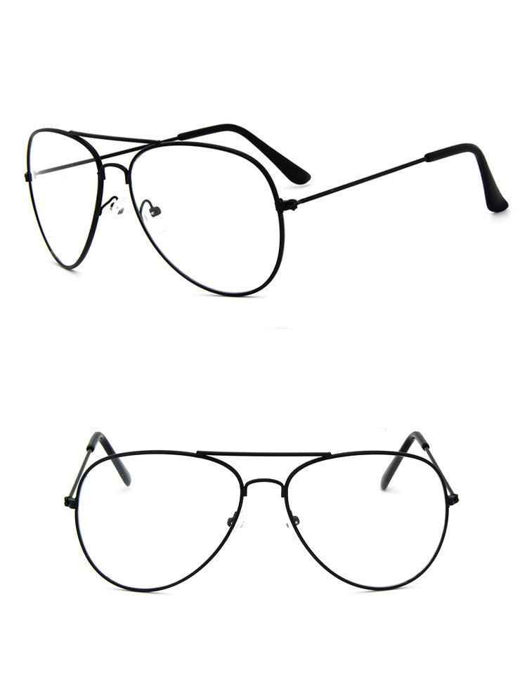 Classic Iconic Aviator Tear Drop Metal Clear Lens