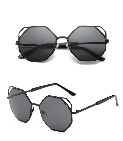 Angular Octagonal Shape Oversize Sunglasses