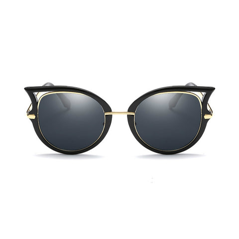 Round Temple Cut Out Cat Eye Sunglasses