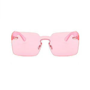 Oversize Keyhole Bridge Squared Shield Silhouette Sunglasses