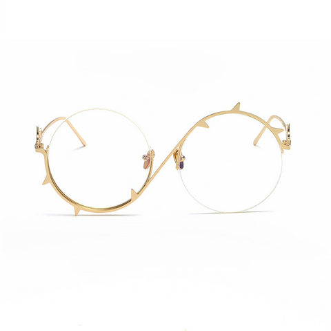【Lux Collection】Round Silhouette Unique Thorns Clear Lens Frame