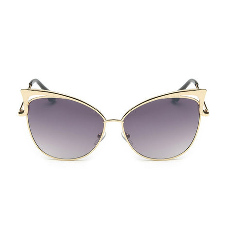Retro Metal High Pointed Open Tip Cat Eye Sunglasses