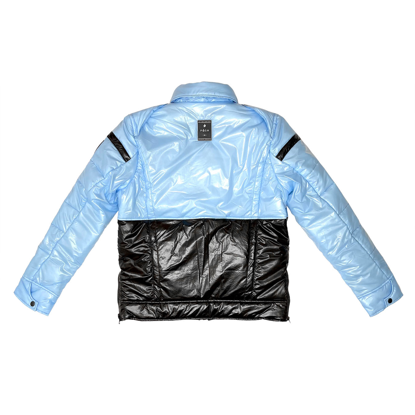 "Posh ""NewYork"" Two Tone Baby Blue Bubble Jacket"