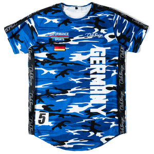 Club Foreign Performance Longline T-shirt Camo Blue - Trends Society