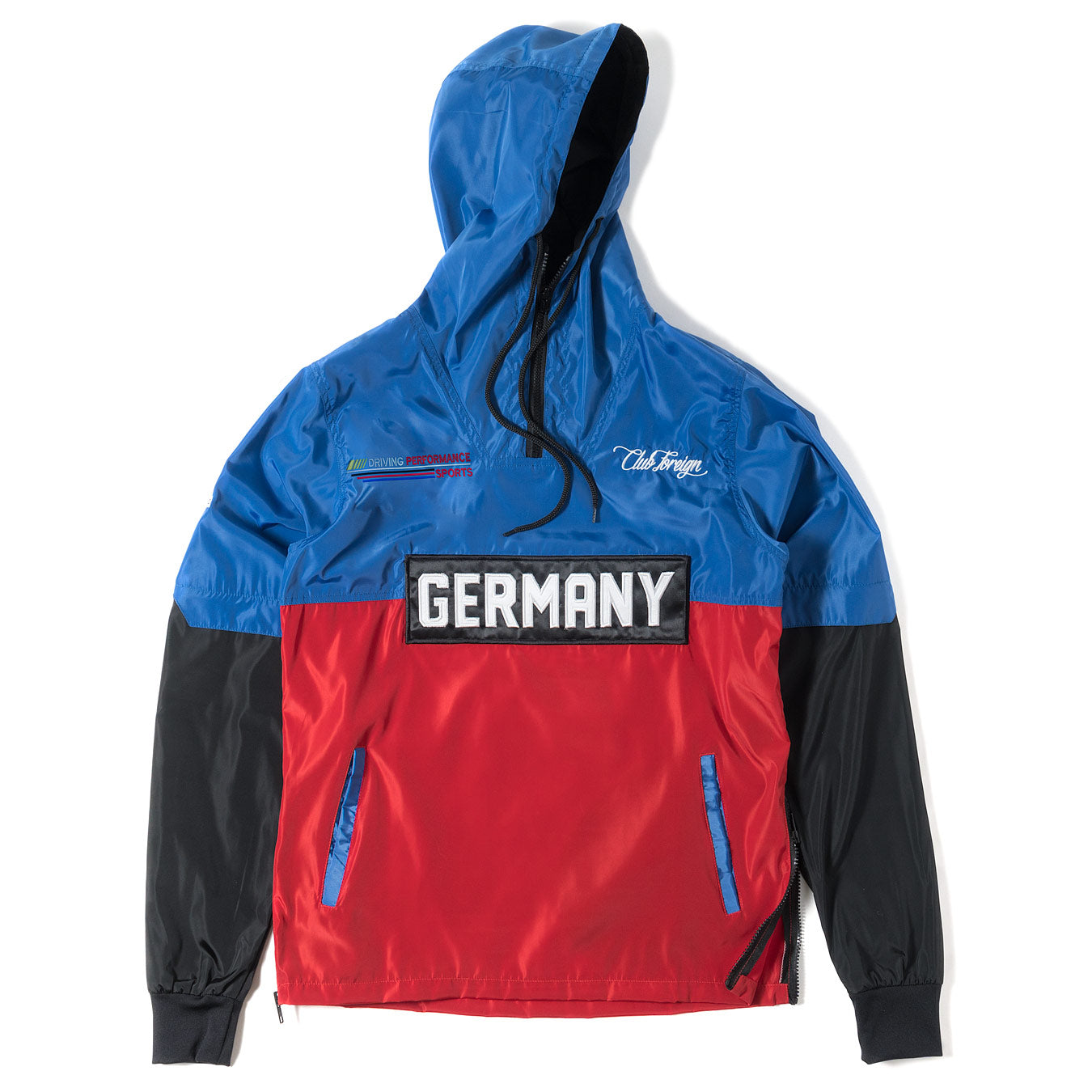 02ade1045 ClubForeign Performance Windbreaker Jacket Blue Red Black - Trends Society
