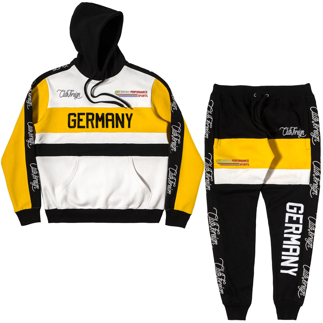 ClubForeign Germany Performance Embroidered Sweatsuit, Yellow / Black - Trends Society