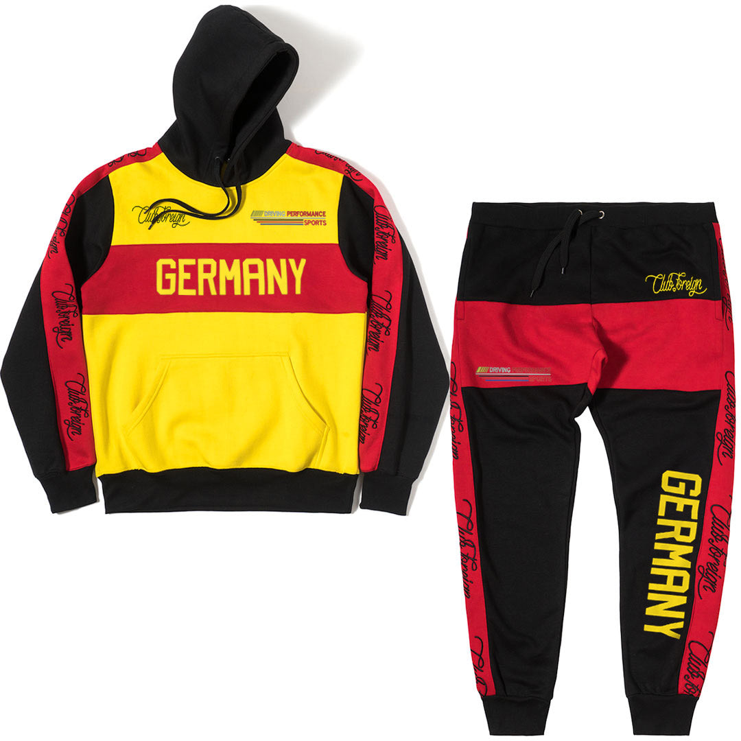 ClubForeign Germany Performance Embroidered Sweatsuit, Yellow-Red - Trends Society