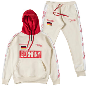 ClubForeign Germany Embroidered Sweatsuit with Neck Zip, Beige - Trends Society