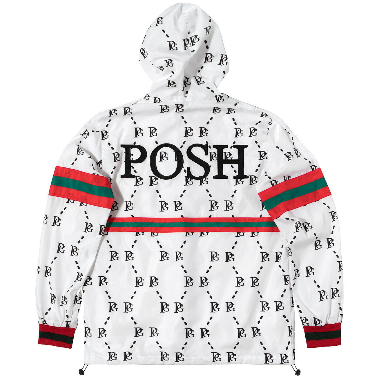 Posh PG Windbreaker Full Zip Jacket White - Trends Society