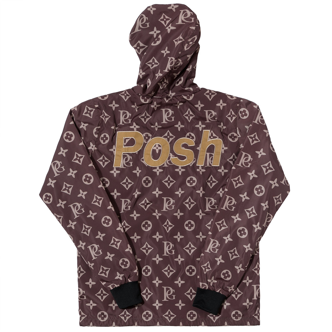 Posh LV_SPRM Windbreaker Hoodie Jacket Brown - Trends Society