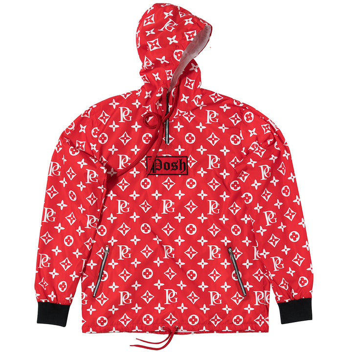 Posh LV_SPRM Windbreaker Hoodie Jacket Red - Trends Society