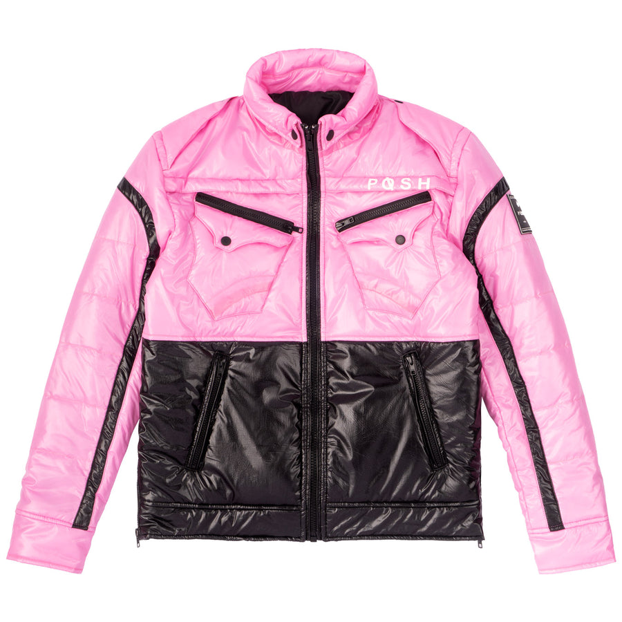 "Posh ""NewYork"" Two Tone Light Pink Bubble jacket"